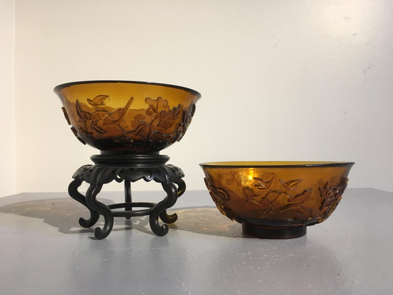 Pair of Chinese Amber Peking Glass Carved Bowls, Qing Dynasty, Late 19th Century In Good Condition For Sale In Austin, TX