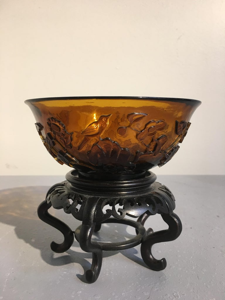 Pair of Chinese Amber Peking Glass Carved Bowls, Qing Dynasty, Late 19th Century For Sale 1