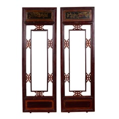 Pair of Chinese Antique Carved Wooden Panels with Red, Brown and Golden Accents