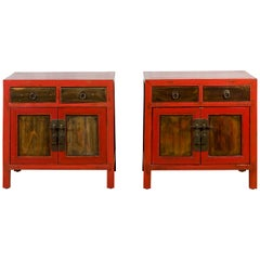 Pair of Chinese Antique Red Lacquer Small Cabinets with Drawers and Doors