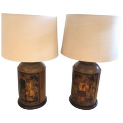 Pair of Chinese Antique Tea Cannistr Lamps