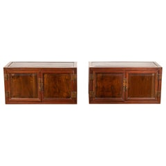 Pair of Chinese Antique Wood Low Cabinets with Brass Hardware and Raised Accents