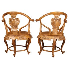 Pair of Chinese Armchairs in Exotic Wood, 20th Century