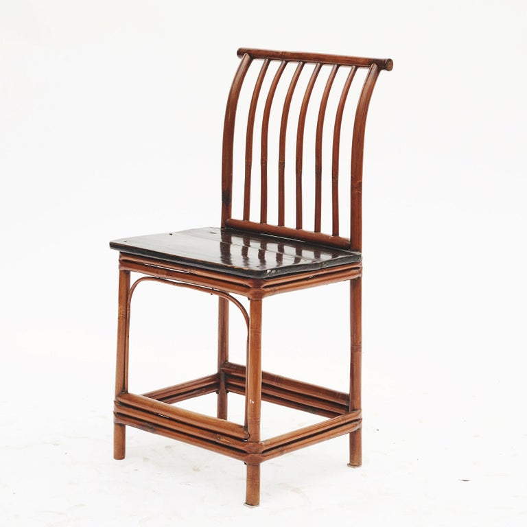 Asian Pair of Chinese Art Deco Bamboo Chairs For Sale