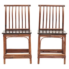 Pair of Chinese Art Deco Bamboo Chairs