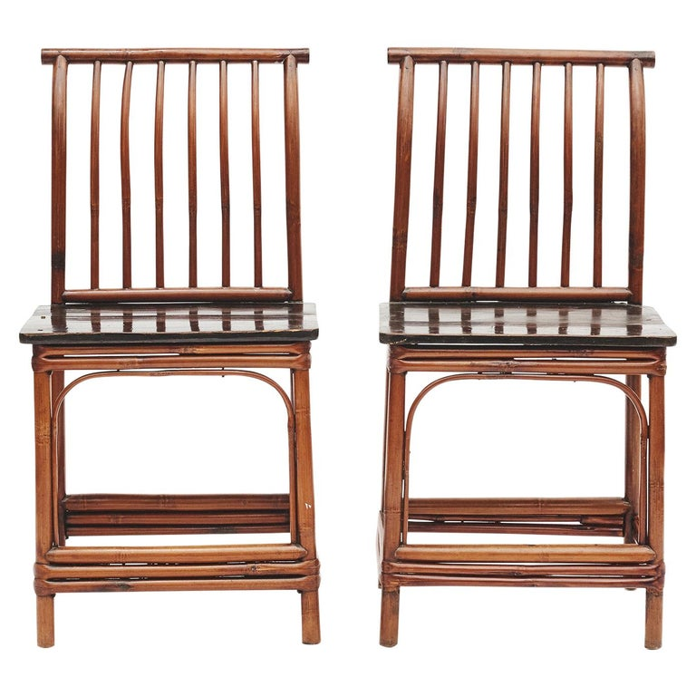 Pair of Chinese Art Deco Bamboo Chairs For Sale