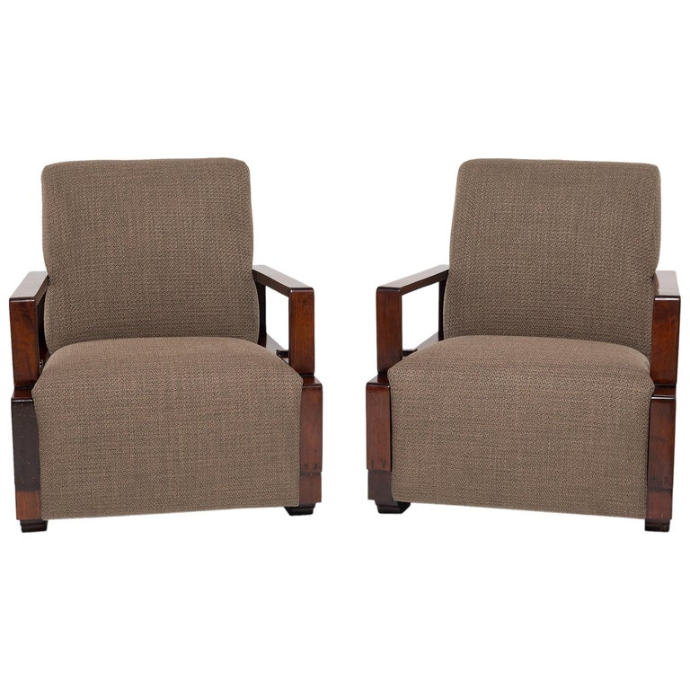Pair of Chinese Art Deco Chairs For Sale