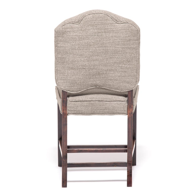Wool Pair of Chinese Art Deco Dining Chairs, circa 1920-1930s For Sale