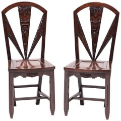 Pair of Chinese Art Deco Geometric Side Chairs