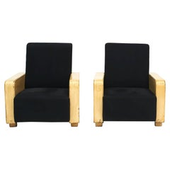 Pair of Chinese Art Deco Lounge Chairs, with Wooden Armrests