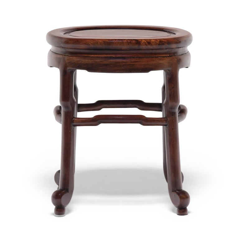 20th Century Pair of Chinese Art Deco Oval Stools, c. 1900 For Sale