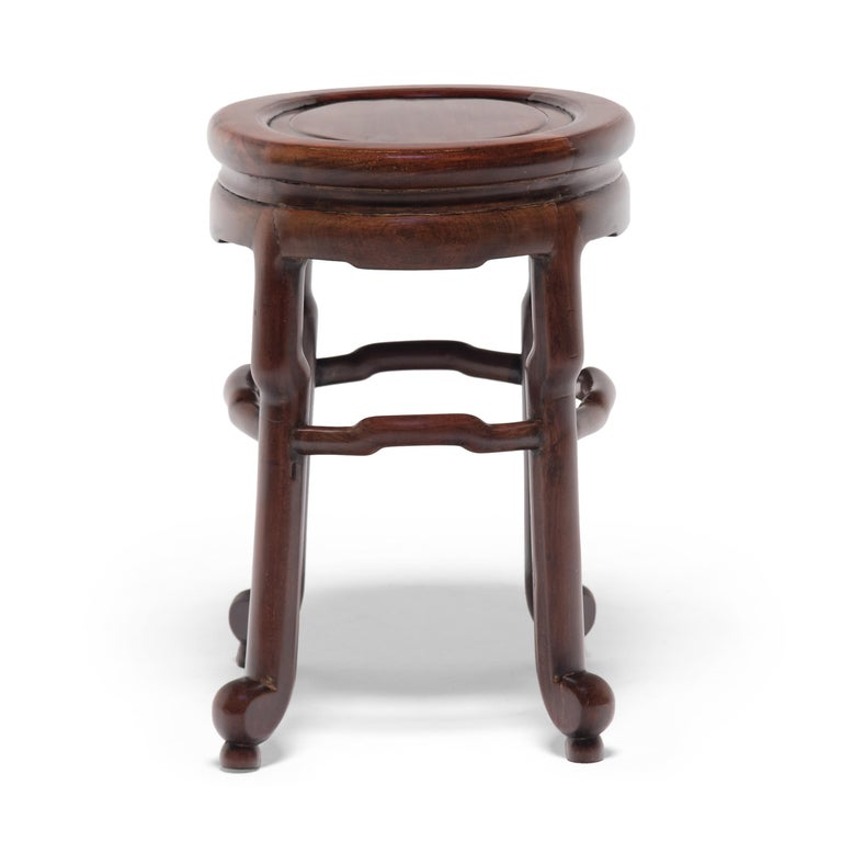 Hardwood Pair of Chinese Art Deco Oval Stools, c. 1900 For Sale