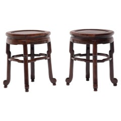 Pair of Chinese Art Deco Oval Stools, c. 1900