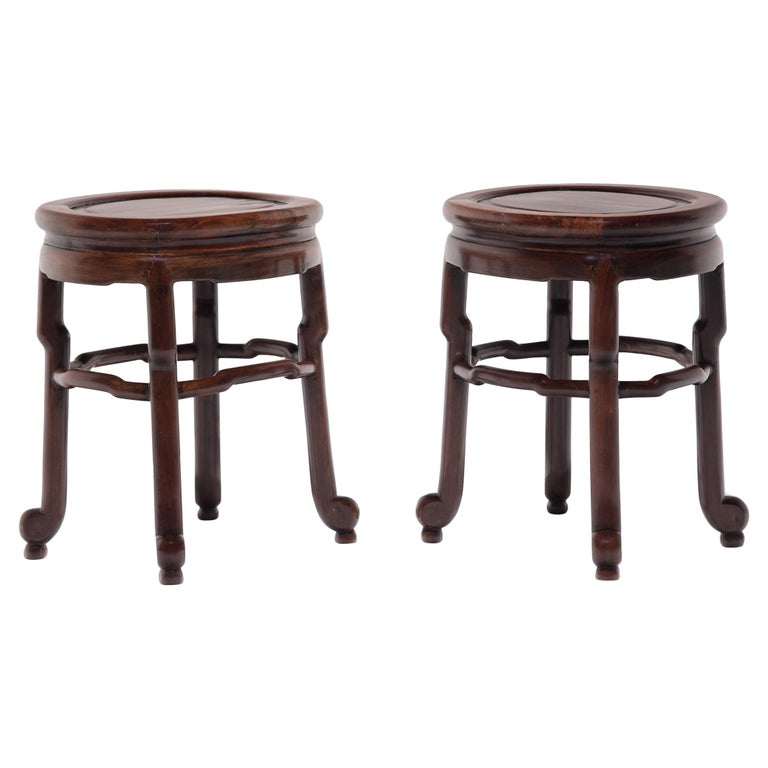 Pair of Chinese Art Deco Oval Stools, c. 1900 For Sale