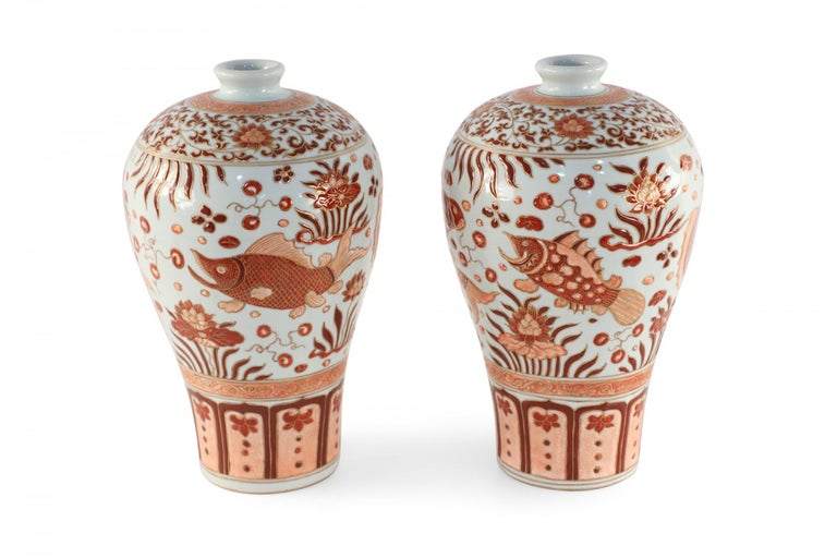 Chinese Export Pair of Chinese Beige and Orange Fish Design Meiping Porcelain Vases