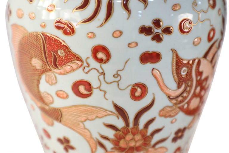 Pair of Chinese Beige and Orange Fish Design Meiping Porcelain Vases 2