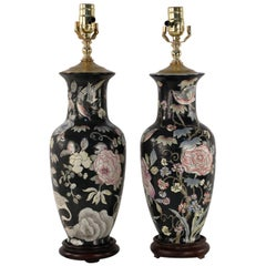 Pair of Chinese Black and Floral Motif Table Lamps