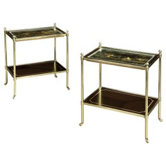 Pair of Chinese Black and Gilt Lacquer Two-Tier Tables