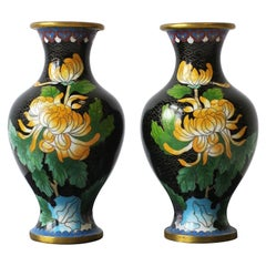 Chinese Black and Green Cloisonné́ and Brass Flower Vases