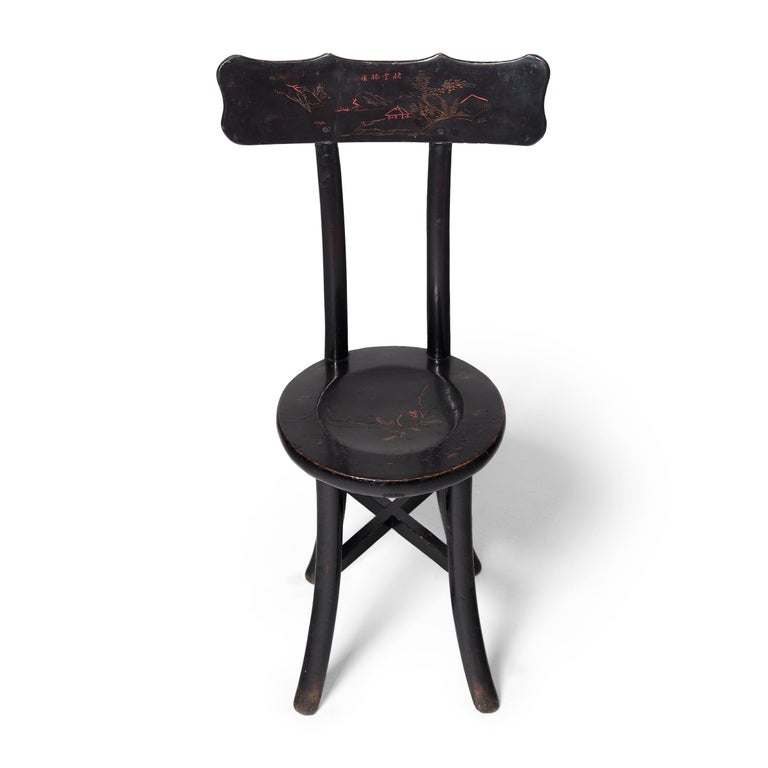 20th Century Pair of Chinese Black Lacquer Ladies' Chairs, c. 1900 For Sale