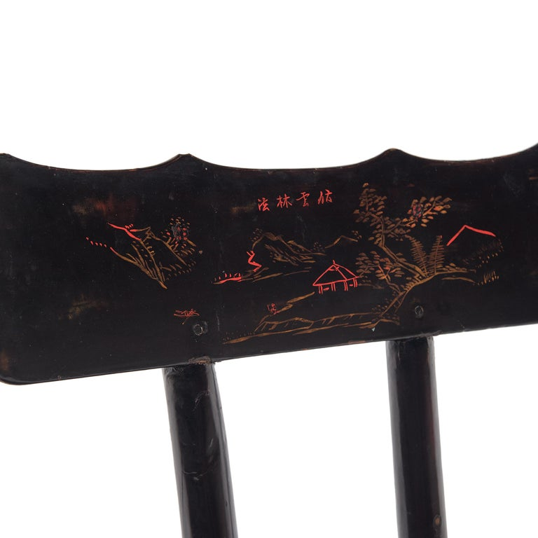 Elm Pair of Chinese Black Lacquer Ladies' Chairs, c. 1900 For Sale