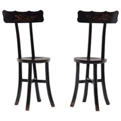 Pair of Chinese Black Lacquer Ladies' Chairs, c. 1900