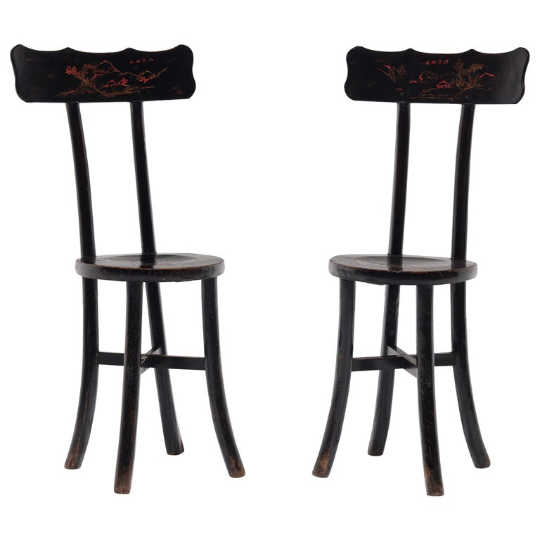 Pair of Chinese Black Lacquer Ladies' Chairs, c. 1900 For Sale