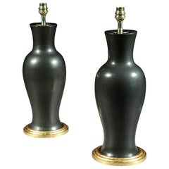 Pair of Chinese Black Porcelain Baluster Table Lamps