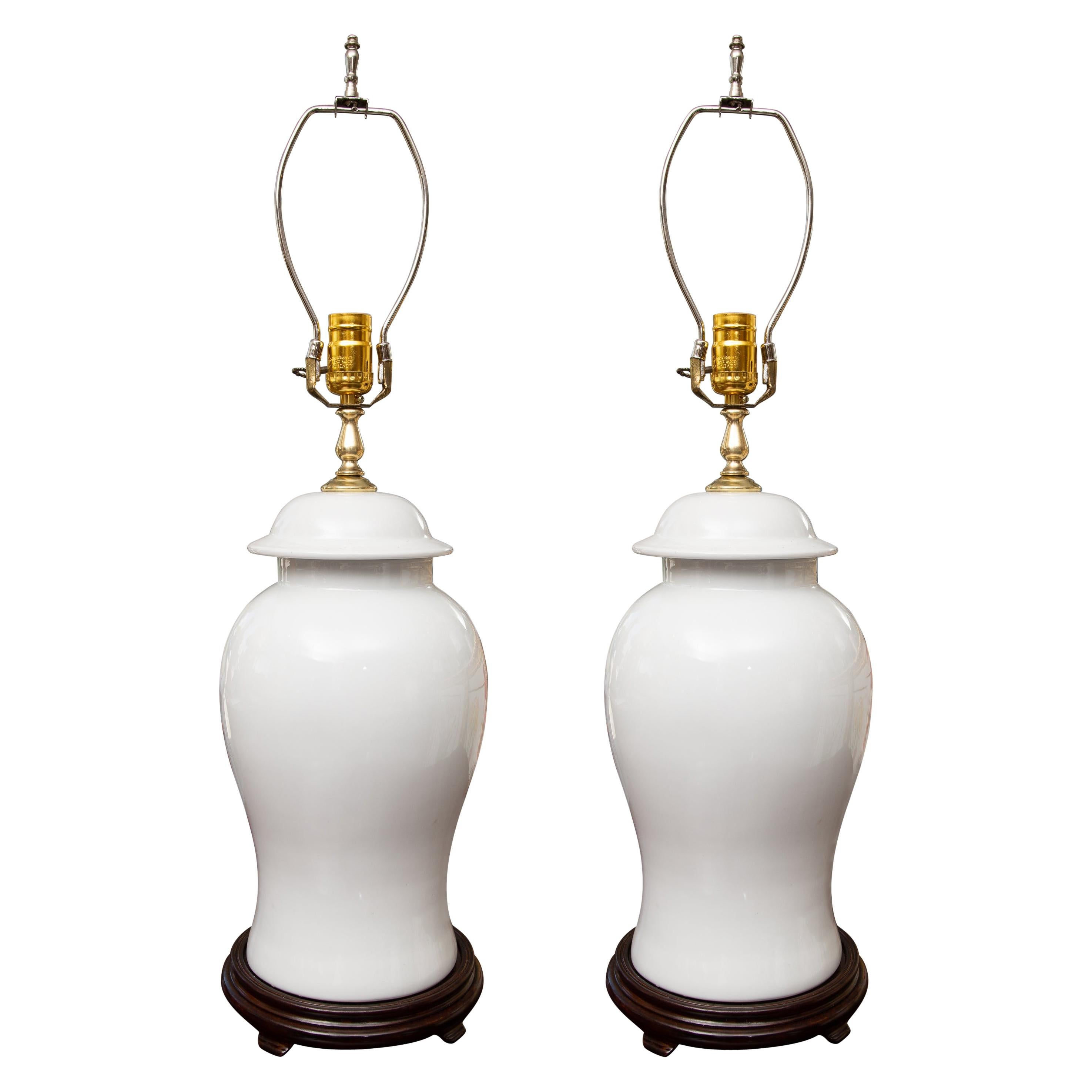 Pair of Chinese Blanc de Chine Ginger Jar Vases as Table Lamps