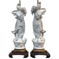 Pair of Chinese Blanc de Chine Guanyin and Lotus Leaf Table Lamps