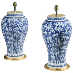 Pair of Chinese Blue and White Bamboo Table Lamps