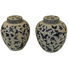 Pair of Chinese Blue and White Butterfly Ginger Jars