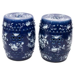Pair of Chinese Blue and White Garden Seats, circa 1920s