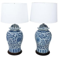 Pair of Chinese Blue and White Ginger Jar Lamps