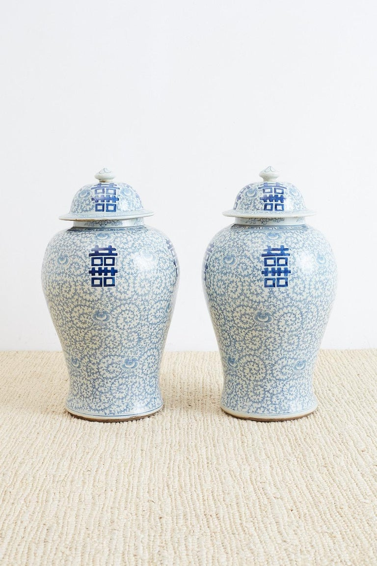pair of chinese blue and white ginger jars for sale at 1stdibs. Black Bedroom Furniture Sets. Home Design Ideas