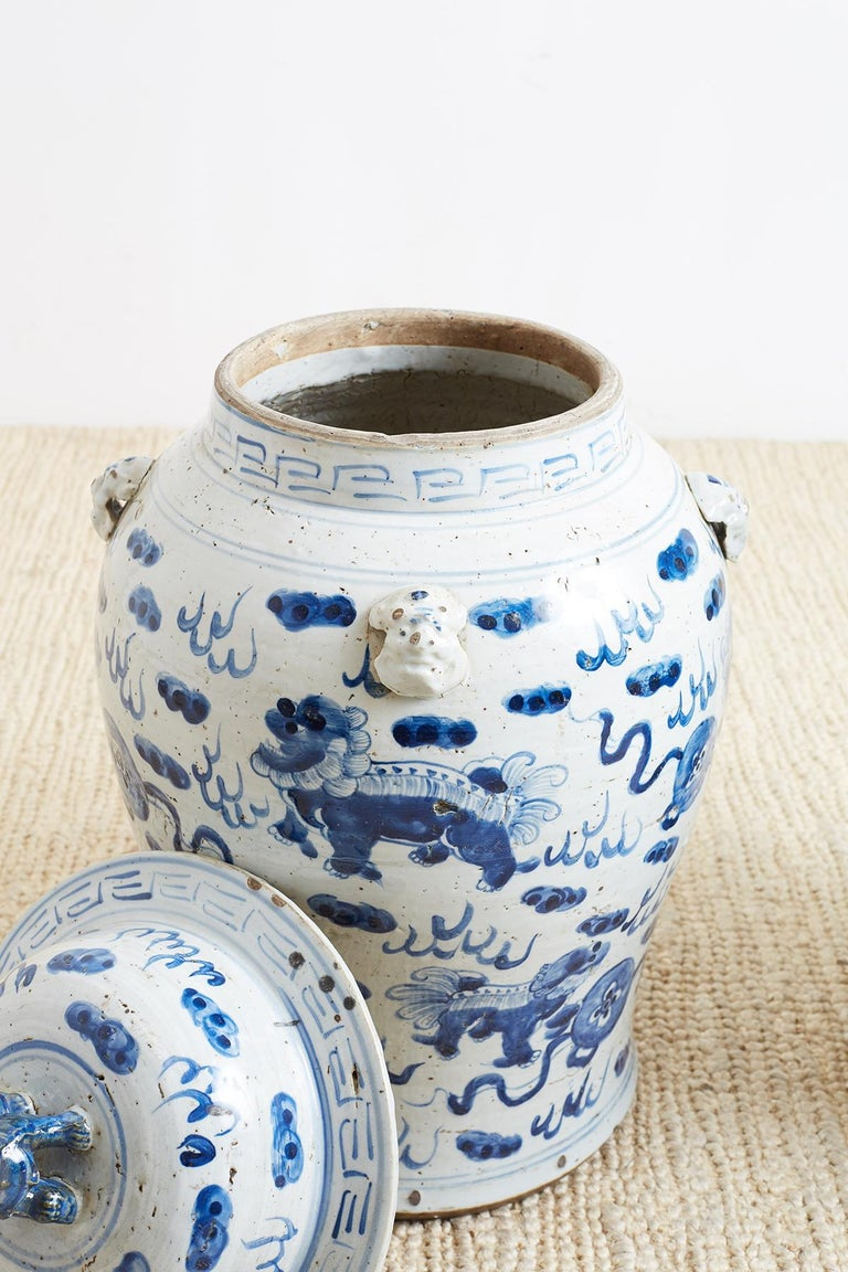 Pair of Chinese Blue and White Ginger Jars with Foo Dogs For Sale 3