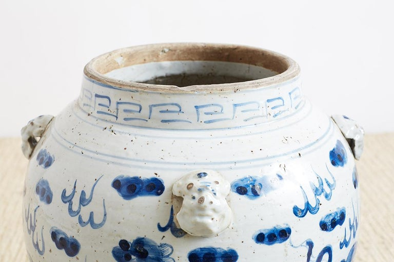 Pair of Chinese Blue and White Ginger Jars with Foo Dogs For Sale 4