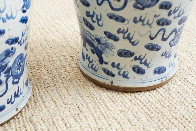 Pair of Chinese Blue and White Ginger Jars with Foo Dogs For Sale 5