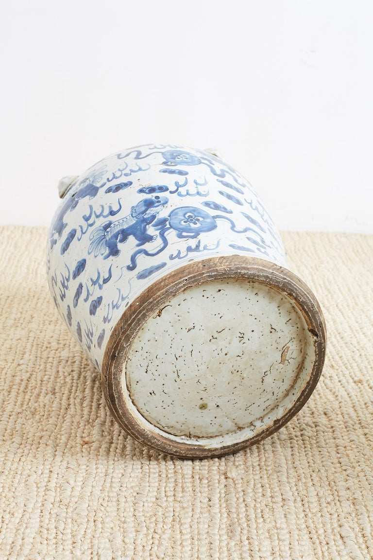 Pair of Chinese Blue and White Ginger Jars with Foo Dogs For Sale 7