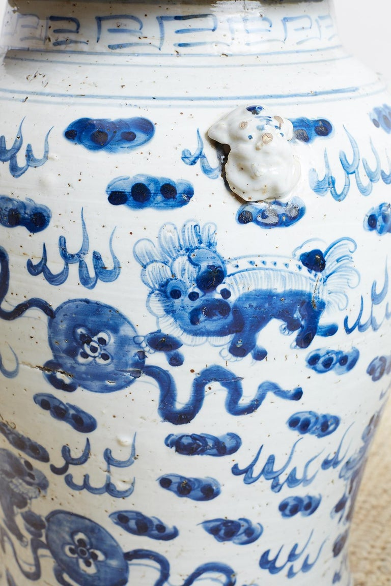 Pair of Chinese Blue and White Ginger Jars with Foo Dogs For Sale 9