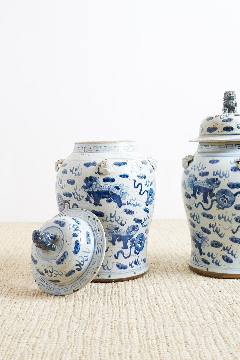 Pair of Chinese Blue and White Ginger Jars with Foo Dogs For Sale 2