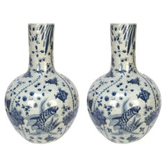 Pair of Chinese Blue and White Gooseneck Jars with Fish