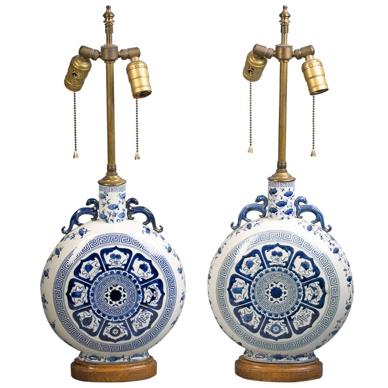 Pair of Chinese Blue and White Moon Flask Lamps, circa 1920 For Sale