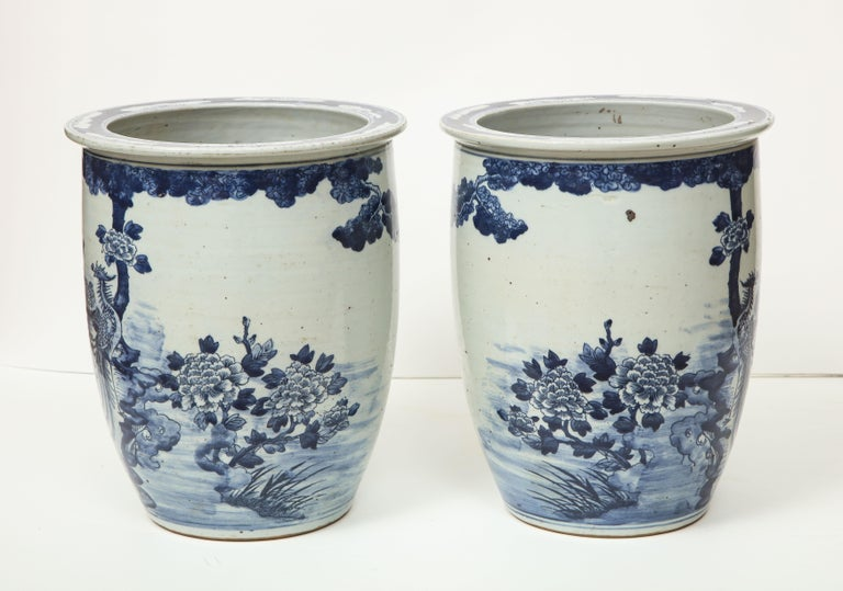 Pair of Chinese Blue and White Planters For Sale 5