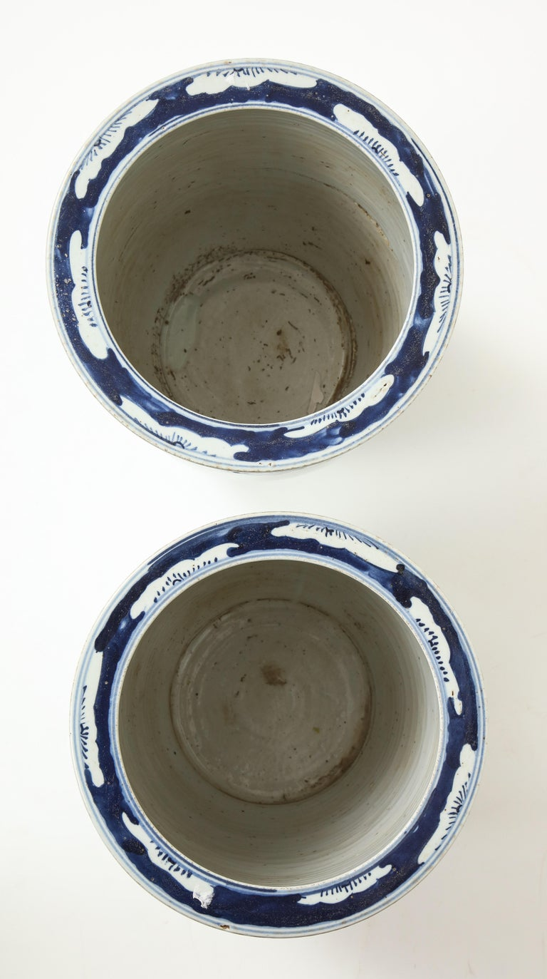 Pair of Chinese Blue and White Planters For Sale 7