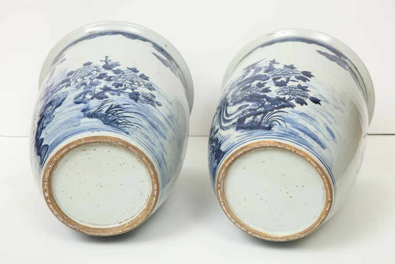 Pair of Chinese Blue and White Planters For Sale 8