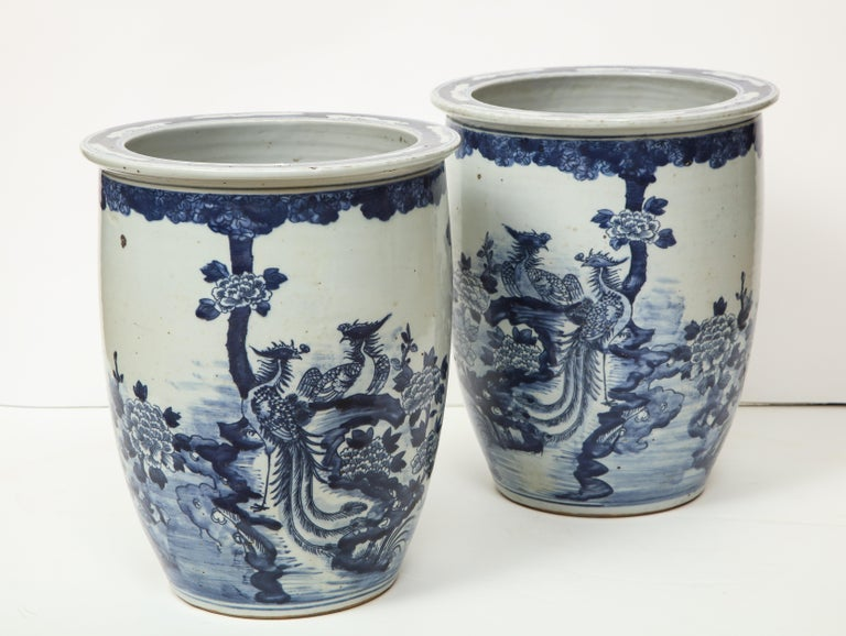 Pair of Chinese Blue and White Planters For Sale 9