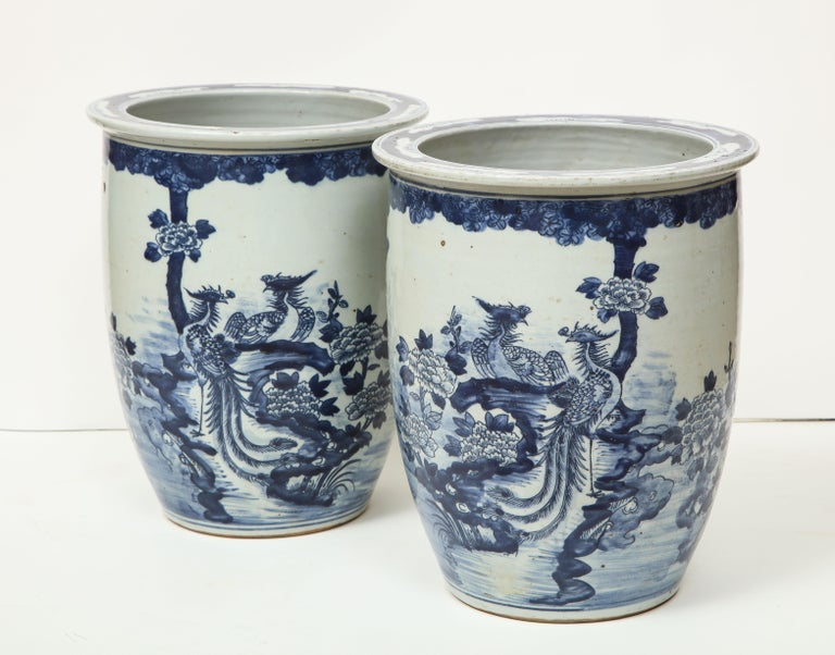 Pair of Chinese Blue and White Planters For Sale 10