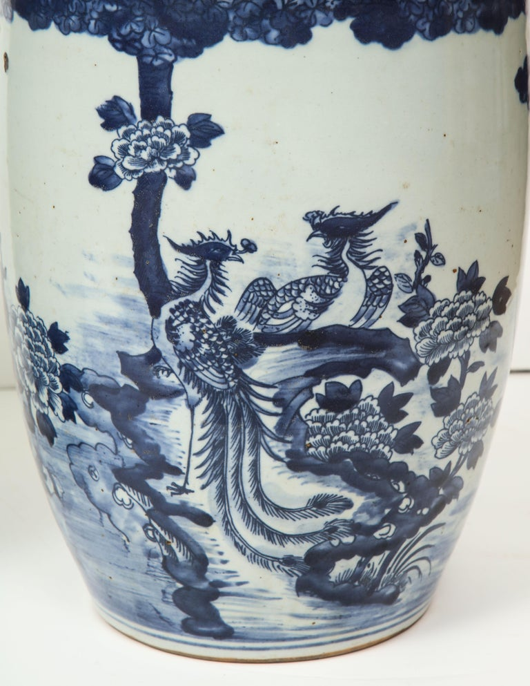 20th Century Pair of Chinese Blue and White Planters For Sale