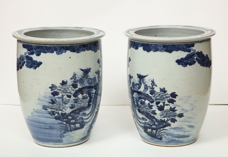 Porcelain Pair of Chinese Blue and White Planters For Sale